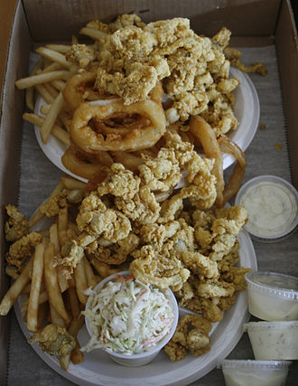 Fried clams - Image: Fried clams Woodman's of Essex, Massachusetts