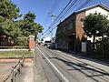 Fukuoka prefectural road No.550 in front of main gate of Hakozaki Campus of Kyushu University.jpg