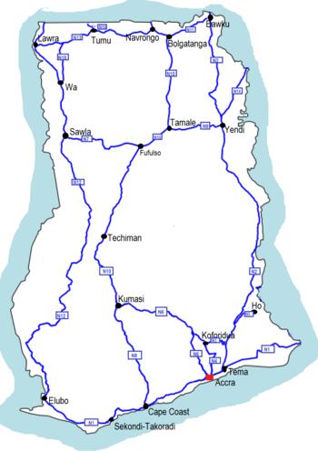 Ghana Map Roads Ghana Road Network   Wikipedia