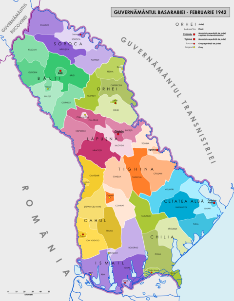 Administrative map of the Governorate of Bessarabia in February 1942 GUVERNAMANTUL BASARABIEI.png