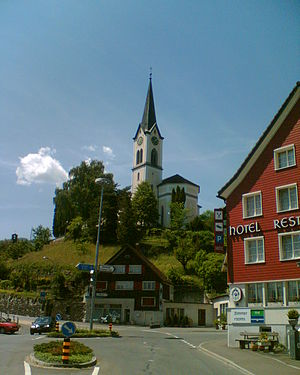Gams - Gams village and St. Michael's hill and church