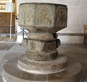 Byzantios - Font in Garde Church, Gotland, by Master Byzantios