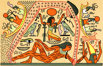 Book of Nut - Goddess Nut, supported by the god of the air Shu; the earth god Geb is below them