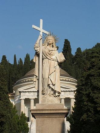 Santo Varni - Image: Genova Cimitero di Staglieno Statua della Fede e Pantheon 3