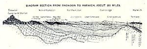 Geology of Great Britain - Image: Geology of UK Section from Snowdon to Harwich