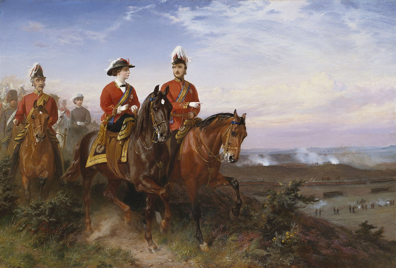George Housman Thomas (1824-68) - Queen Victoria and the Prince Consort at Aldershot, 9 July 1859 - RCIN 405295 - Royal Collection.jpg