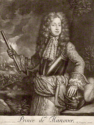 George I of Great Britain - George in 1680, aged 20, when he was Prince of Hanover. After a painting by Sir Godfrey Kneller.