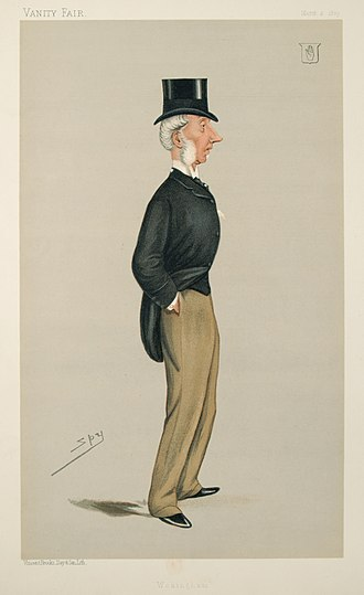 "Sir George Russell, 4th Baronet - ""Wokingham"" Russell as caricatured by Spy (Leslie Ward) in Vanity Fair, March 1889"