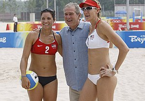 Beach volleyball - United States and Brazil have won most of the Olympic medals of beach volleyball. Picture shows then U.S. President George W. Bush with Misty May-Treanor (left) and Kerri Walsh of U.S. Women's Beach Volleyball team at the 2008 Beijing Olympics.