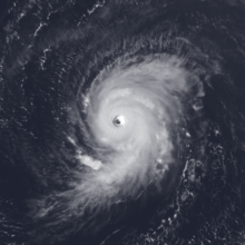 Satellite image of Hurricane Georges, a strong tropical cyclone, near peak intensity