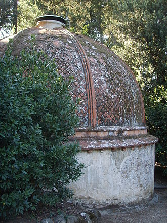 Ice house (building) - Boboli Gardens, Florence, Italy: domed icehouse (ghiacciaia) half-sunk into a shaded slope