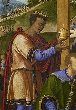 Balthazar (Magus) - Balthazar in The Adoration of the Three Kings by Girolamo da Santacroce