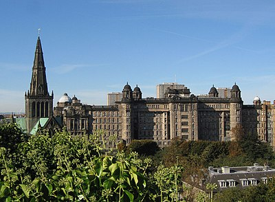 The Glasgow Royal Infirmary is the city's oldest hospital. Glasgow Cathedral and Royal Infirmary - geograph.org.uk - 579019.jpg