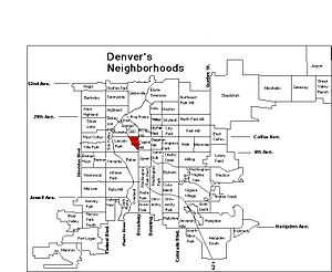 Golden Triangle, Denver - The Golden Triangle highlighted on this map of Denver's neighborhoods.