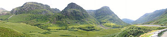 Glen Coe - Panoramic view westwards along the glen towards the Three Sisters of Bidean nam Bian, with Aonach Eagach on the right