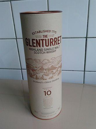 Glenturret distillery - A bottle of Glenturret whisky. Above a 10-year-old, 700 ml, 40.0% Vol.