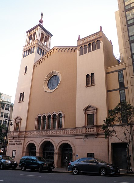 A Methodist congregation, Glide Memorial Church has served as a counter-culture rallying point and has been identified as a liberal church. Glide Memorial Church.jpg