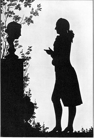 Silhouette - Goethe facing a grave monument, cut paper, 1780