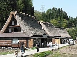 Traditional thatching roof style homes in Ainokura, Gokayama