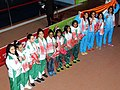 Gold medal winners of India, Silver medal winner Pakistan and Bangladesh are the Bronze medal winner of Women's, 4x100m Medley in Swimming, at the 12th South Asian Games-2016, in Guwahati on February 10, 2016.jpg