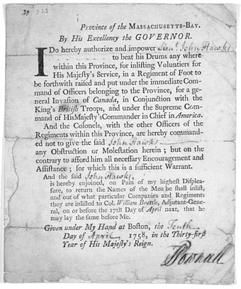Order by Pownall authorizing Lieut. Col. John Hawke to beat his drum for enlistments for regiment for the invasion of Canada, 1758 Governor Thomas Pownall order to Lieut Col John Hawke to beat his drum for enlistments.jpg