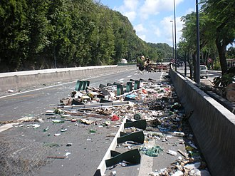 2009 French Caribbean general strikes - A road block near Le Gosier, Guadeloupe, during the strikes.