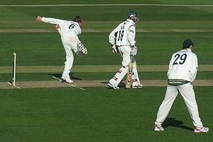Graeme Swann bowls for Nottinghamshire in a Co...