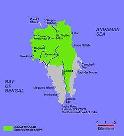 Campbell Bay is located in the eastern part of the Great Nicobar Island