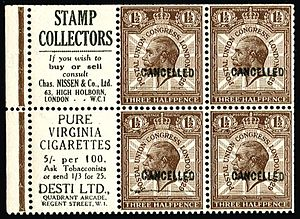 Stamp dealer - Advertising for the stamp dealer Charles Nissen on a booklet pane from the 1929 PUC stamps of Great Britain.