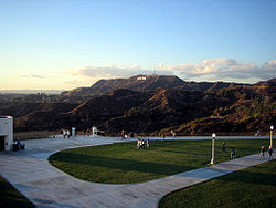 Griffith Observatory entrance lawn with Hollywood sign.jpg
