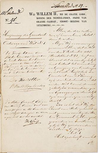 Constitutional Reform of 1848 - Image: Grondwet 1848 Nl Ha NA 2.02.04 514 01