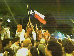 "2005 Texas Longhorns football team - After the game, spontaneous celebrations occurred along Guadalupe Street (the ""Drag"") which runs adjacent to the UT campus."