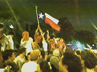 "2005 Texas vs. Ohio State football game - After the game, spontaneous celebrations occurred along Guadalupe Street a.k.a. ""The Drag"" which runs adjacent to the UT campus."