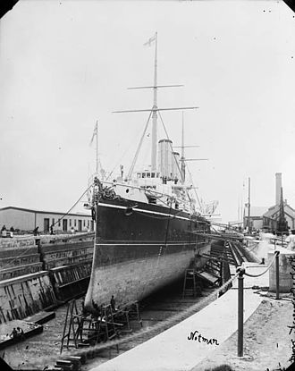 Halifax Shipyard - Halifax Graving Dock, 1900 with HMS Crescent