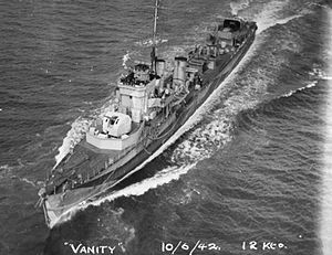 HMS Vanity (D28) - HMS Vanity in June 1942, clearly showing the twin 4-inch Mk XVI guns installed in 1940 as part of her conversion to anti-aircraft escort