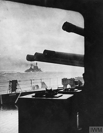 The battlecruiser HMS Hood steaming into battle minutes before she was sunk by the German battleship Bismarck on May 24, 1941. HOOD023.jpg