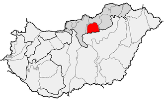Mátra - Location of Mátra (red) within physical subdivisions of Hungary