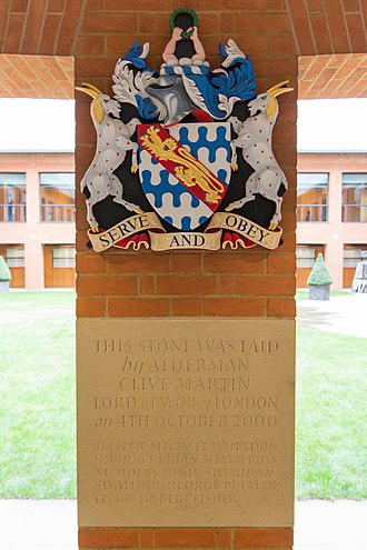 Worshipful Company of Haberdashers - Image: Haberdashers' Hall coat of arms and foundation stone