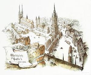 Marktkirche Unser Lieben Frauen - Halle around 1500 with St. Gertrude's and St. Mary's before their demolition – artist's impression of the Marktplatz by G. F. Hertzberg dated 1889