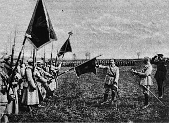 Polish–Soviet War - General Józef Haller (touching the flag) and his Blue Army