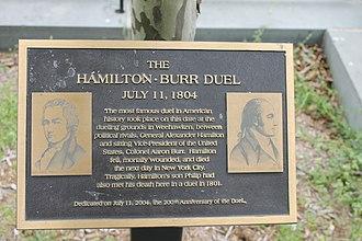 Weehawken, New Jersey - Historical marker of the Burr-Hamilton duel in Weehawken