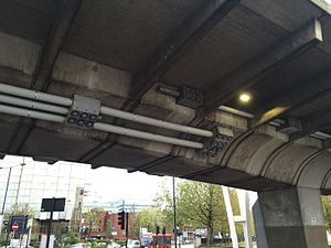 Hammersmith flyover - The flyover after repair work was completed in 2015, with new bolts and sections of tensile cable visible on the surface of the structure
