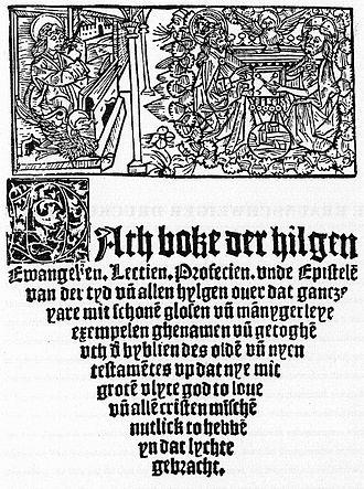 Hans Dorn - Title page of Dath boke der hilgen Ewangelien (1506)