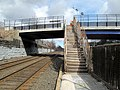 Harvard Street stairs at Newtonville station, March 2013.JPG