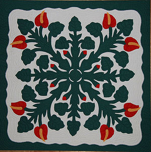 Hawaiian quilt - A Hawaiian quilt.