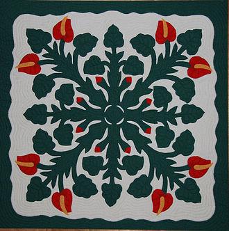 Hawaiian quilt - A Hawaiian quilt.