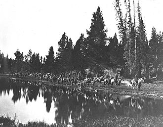 Hayden Geological Survey of 1871 - 1871 Hayden Survey at Mirror Lake en route to East Fork of the Yellowstone River, August 24, 1871-W.H. Jackson photo