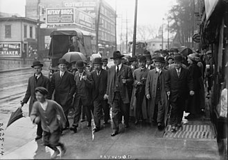 1913 Paterson silk strike - William Dudley Haywood and his entourage in Paterson during the silk strike.