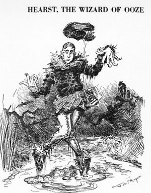 William Randolph Hearst - Cartoonist Rogers in 1906 sees the political uses of Oz: he depicts Hearst as the Scarecrow stuck in his own oozy mud in Harper's Weekly.