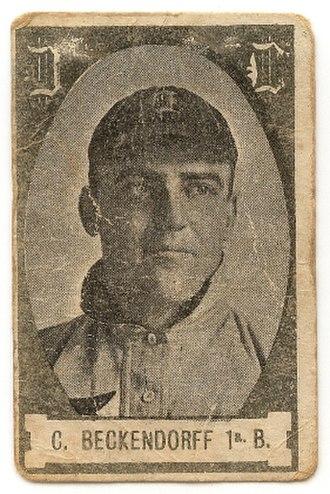 Heinie Beckendorf - 1908 Cabanas Cuban baseball card for Beckendorf